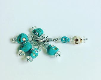 Blue Skull Stitch Markers for Knitting