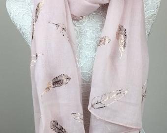 Feather Metallic Print Scarf - Pink