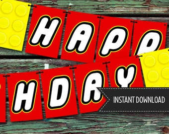 PRINTABLE Lego Brick Themed Birthday Banner [DOWNLOAD]