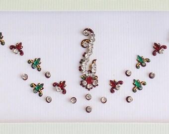 Maroon Bollywood Bindis Stickers Pack,Wedding Long Bindis,Bridal Face Bindis,Bindi,Bollywood Bindi,Long Bindi,Self Adhesive Stickers