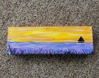 SOLD***Morning Sailor/ Acrylic painting/ canvas/ 12x4x1.5