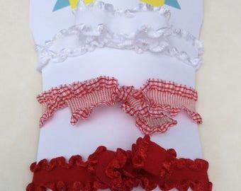 Double Ruffle Red and White Hair Ties • Red Gingham Hair Tie • Hair Accessories, Hair Ties, Girl, Teen