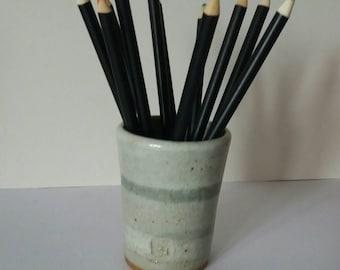 Cornish stoneware grey pen pot with stripes
