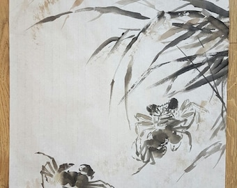Original Traditional Chinese Brush Painting: Crabs in the Golden Autumn