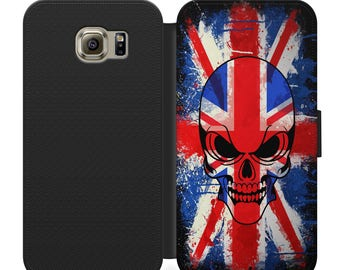 British union flag with skull flip wallet phone case for iphone 4 5 6 7 8 8 plus Samsung s2 s3 s4 s5 s6 s7 S8 S8 plus and more