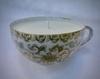 Rare Vintage Green and Gold Teacup Candle, Hand Poured Coconut and Soy Wax, 2-in-1 Colors and Scents: Green Tea and Passionfruit White Tea