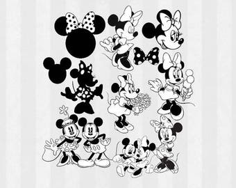 Minnie Mouse Clip art, Minnie Mouse PNG, Minnie Mouse Digital Download, Minnie Mouse silhouettes, black and white, minnie head, DIY Decorati