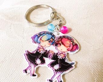 Rem and Ram Re Zero cute anime keychain charm- anime fan art