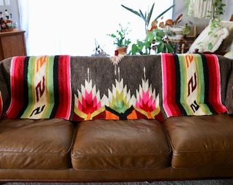 Vintage 100% Woven Wool Ethnic Blanket, Twin Throw, BOHO, Loomed