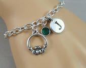 Irish Claddagh Bracelet, Gaelic Claddagh Bracelet, Initial and Birthstone Bracelet, Silver Plated Link Charm Bracelet