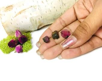 3 Dark Rough Raw Watermelon Tourmaline Crystals Pink Green 15 CTW Gemstones