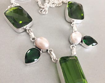 silver necklace, peridot, green quartz and cultured pearls