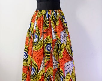 African Wax Print Full Skirt with Pockets and Elastic Waistband