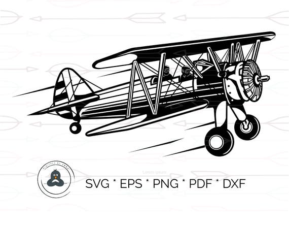 Airplane Vintage Silhouette Svg Amp Dxf Cutting Files For