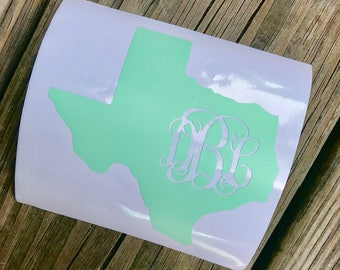 State Monogram | Decal | Personalize | Texas | Initials | Tumblers | Custom | States
