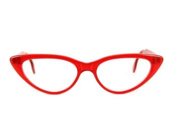 Are you ready for RED? Big bold 50s style Cat eye glasses Beautiful sexy large contemporary 'BARDOT'