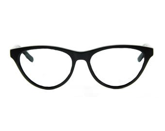 SophistiCATed cat eye glasses, stunning contemporary. Hand made, flexible, lightweight and sexily serious 'AUDREY' Black