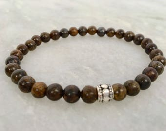 mens bronzite beaded bracelet, gift for him, stocking stuffee