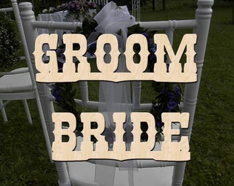 Chair Sign Groom and Bride, Wooden Chair Signs Western Style, Wood Wedding Decor, Wedding Signs, Wedding Chair Decor
