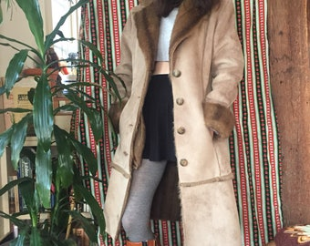 90s Does 70s Vegan Suede and Faux Fur Winter Coat Size XS / Small