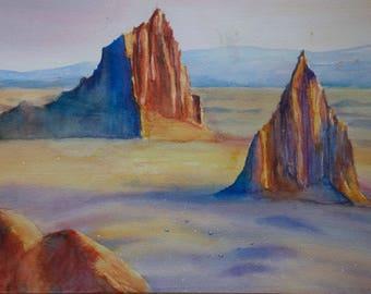 Aquarell handgemalt Landscape Berg Wueste Original