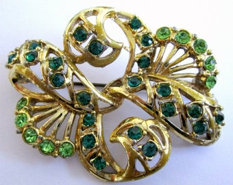 Green brooch, rhinestone brooch, green rhinestone pin, sparkly green brooch, green pin, gold and green brooch, Exquisite brooch