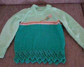 Jumper 2 tone green with pink and brown small strips
