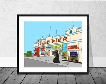 Seaside Art Print, Seaside Illustration, Grand Pier, Weston Super Mare, Art Print, Print, Home Décor, Wallart