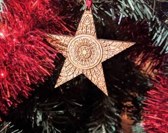Christmas Ornament Mandala Star cherry Wood 5-er set, christmas tree decoration Mandala stars Cherrie Wood set of 5