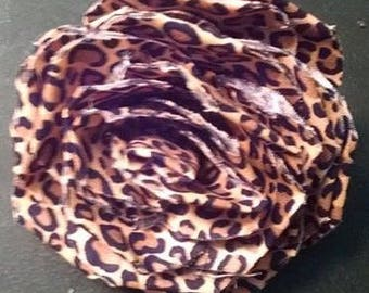 Fabric Rose Barrette Leopard Print