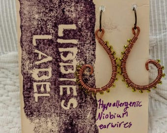 Green, copper wire wrapped with hypoallergenic niobium earring hooks