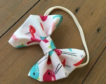 3 inch multi colored bird bow headband