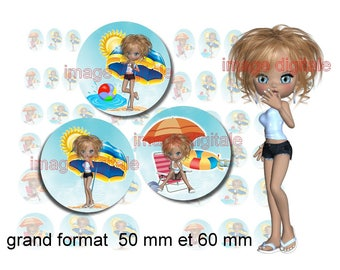 digital images 50 mm and 60mm for mirrors or other print miss Beach