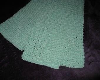 Crocheted Soft Light Green Scarf