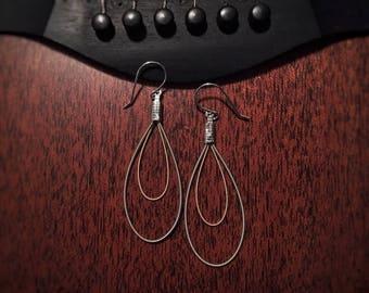 Double Teardrop Guitar String Earrings