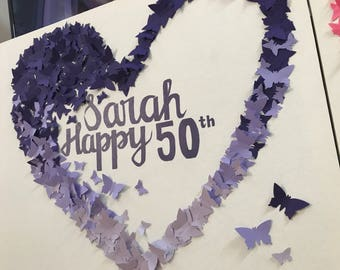 Butterfly, Purple,Ombre, Mothers day, Birthday, Calligraphy, Wall Art, Nursery, Girls Bedroom, Butterflies, Heart, Love, Canvas, Baby Shower