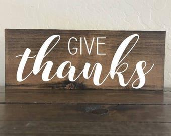 Give Thanks Sign, Thanksgiving Sign, Thanksgiving Decor