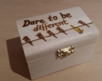 Dare to be different - stylised wooden treasure chest gift jewellery box - can be personalised on request.