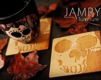 Wooden Skull Coasters