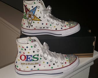High Top Easter Star Converse Bling Sneakers