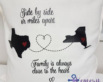 Side By Side Or Miles Apart Family Is Always Close To The Heart, Family Pillow, Custom State Pillow, Long Distance Family State Pillow