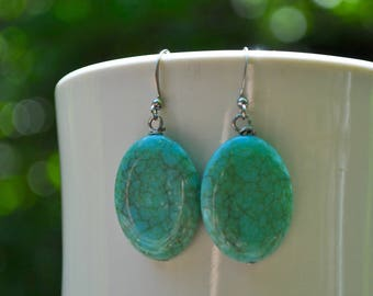 Turquoise Earrings, Turquoise Boho Earrings, Dangle Earrings, Drop Earrings, Women's Earrings, Statement Earrings, Turquoise Stones