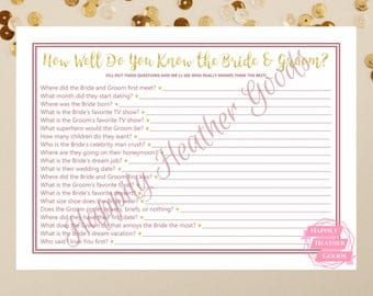 How Well Do You Know the Bride and Groom, Bridal Shower Games, Wedding Shower Games, Printable Games, Rose Gold Bridal Shower, DIY Bridal
