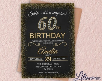 60th Birthday Invitation, Gold & Diamond Women Birthday Invitation, Any Age Birthday Invite, Surprise Invitation, Digital file, 12