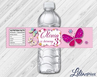 Butterfly Water Bottle Labels, Butterfly Labels, Digital File