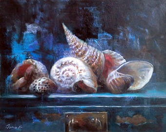 Original Oil Painting 16x20 Canvas STILL LIFE with SEASHELLS and Treasure Chest Sea Ocean Conch Seashell Collection Contemporary Room Decor