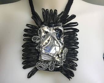 Necklace with lace and mirror