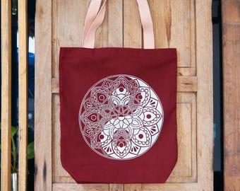Tote-Bag red bordeaux / Mandala Yin-Yang / Yoga Bag / Limited Edition / Zen / Shopping bag / Gift for her