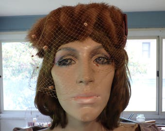 Mink, vintage hat, 40's or 50's with veil