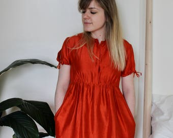 Orange babydoll dress-Size Small